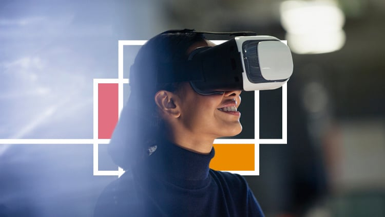A close-up of a young woman using a VR headset with a geometric design behind her.